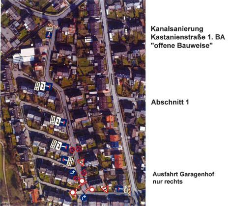 Auf dem Bild: Luftbild mit Markierungen für den Bauabschnitt 1. Quelle: V+E Waltrop AöR