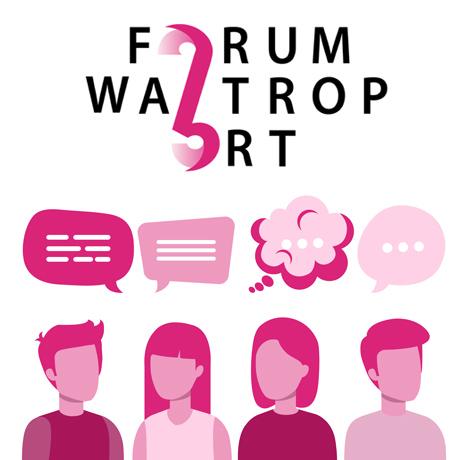 Auf dem Bild: Grafik mit stilisierten Personen, Sprech- und Denkblasen, Projektlogo. Text im Bild: Forum Waltrop Ort. © Volkshochschule Waltrop, Online-Redaktion Waltrop