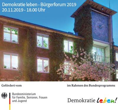 Auf dem Bild: Rathaus Altbau, Schrift im Bild: Waltroper Bürgerforum 2019, Foto: Stadt Waltrop; Logos: Bundesministerium für Familie, Senioren, Frauen und Jugend
