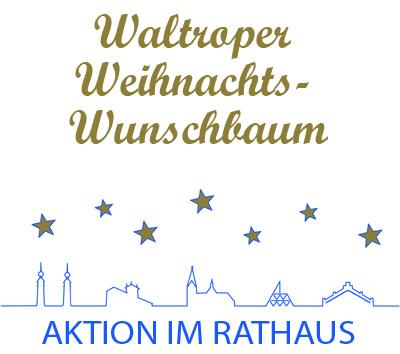 Auf dem Bild: Wunschbaumaktionslogo. Schrift im Bild: Waltroper Weihnachts-Wunschbaum, Aktion im Rathaus. Grafik: Stadt Waltrop