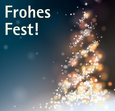 """Auf dem Bild: Stilisierter Weihnachtsbaum. Schrift im Bild: """"Frohes Fest"""". Grafik: © kazy, fotolia.com"""