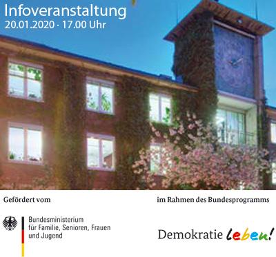 Auf dem Bild: Rathaus Altbau, Schrift im Bild: Infoveranstaltung, Foto: Stadt Waltrop; Logos: Bundesministerium für Familie, Senioren, Frauen und Jugend