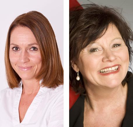 Auf dem Bild: Business Coach Sabine Enning-Lind (li.) und Kabarettistin Edith Börner. Fotos: PR. Quelle: Fagel