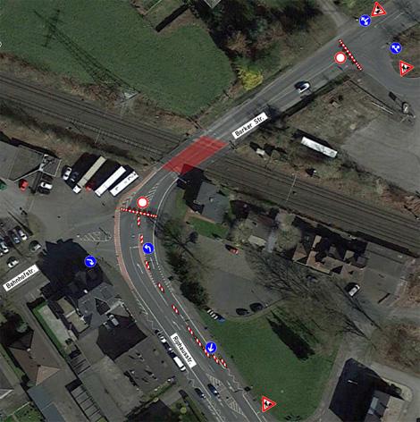 Auf dem Bild: Luftbild mit grafischer Darstellung der Sperrung des Bahnübergangs Borker Straße. Foto: BAWA GmbH.