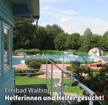 Auf dem Bild: Freibad Waltrop. Text im Bild: Freibad Waltrop, Helferinnen und Helfer gesucht.