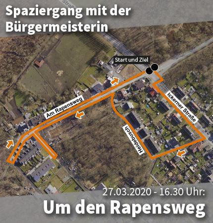 Bild: Luftbild des Stadtgebiets um den Rapensweg mit Wegmarkern für den Quartier-Spaziergang. Grafik: Stadt Waltrop.