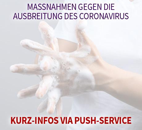 Auf dem Bild: Frau wäscht sich die Hände. Text im Bild: Maßnahmen gegen die Ausbreitung des Coronavirus, Kurz-Infos via Push-Service. Foto: bonnontawat, freepik.com