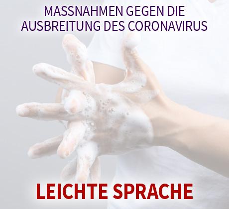 Auf dem Bild: Frau wäscht sich die Hände. Text im Bild: Maßnahmen gegen die Ausbreitung des Coronavirus - Leichte Sprache. Foto: bonnontawat, freepik.com