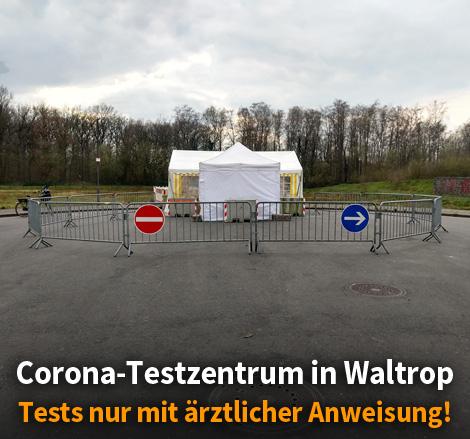 Auf dem Bild: Corona-Testzentrum am Landabsatz im Gewerbepark Zeche Waltrop. Foto: Jan Stratmann, Service Park.