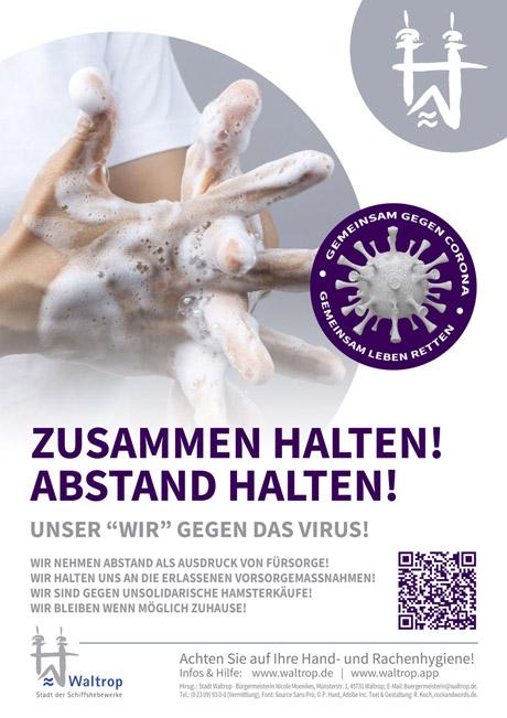 """Auf dem Bild: Plakat und Flyer """"Gemeinsam gegen Corona"""". Gestaltung: R. Koch, rockandwords.de"""