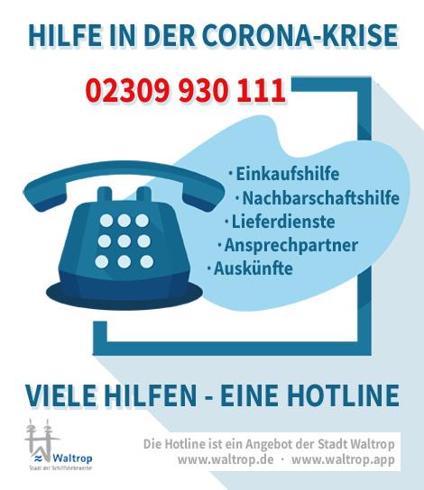 Auf dem Bild: Grafik. Text im Bild: Hilfe in der Corona-Krise, viele Hilfen, eine Hotline, Tel. 02309 930 111. Grafik: rockandwords.de.