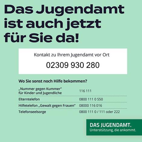 """Auf dem Bild: Grafik. Text im Bild: """"Das Jugendamt ist für sie da"""", Rufnummern."""