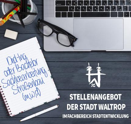 Auf dem Bild:Arbeitsplatz. Schrift im Bild: Jobangebot der Stadt Waltrop im Fachbereich Stadtentwicklung.