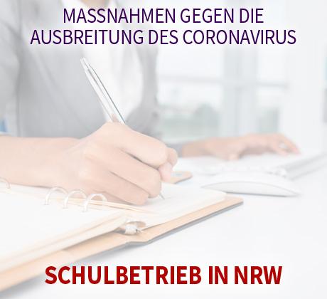 Auf dem Bild: Arbeit am Schreibpult. Text im Bild: Maßnahmen gegen die Ausbreitung des Coronavirus, Beschulung in NRW. Foto: freepik.com