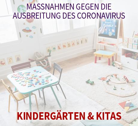 Auf dem Bild: Kindergarten. Text im Bild: Maßnahmen gegen die Ausbreitung des Coronavirus, Kindergärten und Kindertagesstätten. Foto: freepik.com