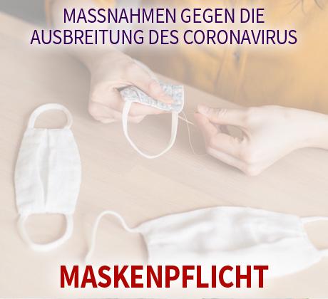 Auf dem Bild: Mund-Nasen-Schutz. Text im Bild: Maßnahmen gegen die Ausbreitung des Coronavirus, Maskenpflicht. Foto: freepik.com