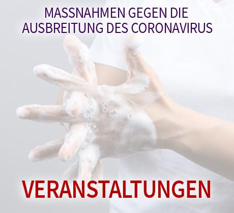Auf dem Bild: Frau wäscht sich die Hände. Text im Bild: Maßnahmen gegen die Ausbreitung des Coronavirus, Veranstaltungen. Foto: bonnontawat, freepik.com