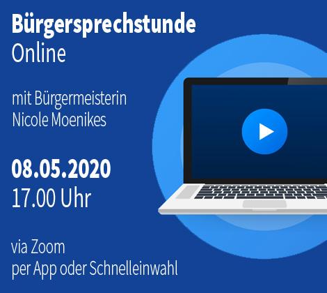 Auf dem Bild: Laptop und Play Icon. Schrift im Bild: Bürgersprechstunde Online am 08.05.2020; Grafik: rockandwords.de