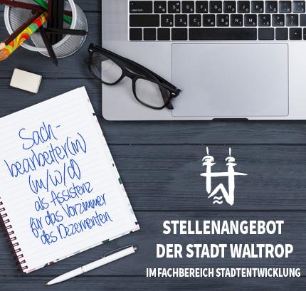 Auf dem Bild: Arbeitsplatz. Schrift im Bild: Jobangebot der Stadt Waltrop im Fachbereich Stadtentwicklung.