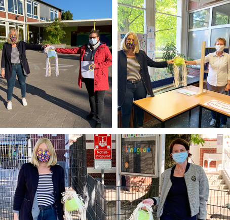 Auf der Foto-Collage (von oben links im Uhrzeigersinn): Nicole Moenikes mit Frau Schwider (Galenschule), Frau Köstler-Matthes (August-Hermann-Franke-Schule) und Frau Wesselbaum (Lindgren-Schule). Fotos: Stadt Waltrop.