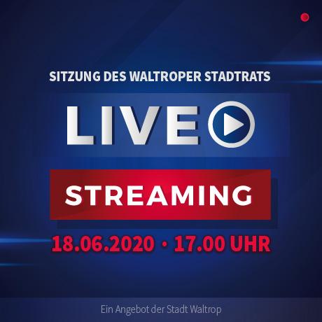 Text im Bild: Sitzung des Waltroper Stadtrats. Livestreaming