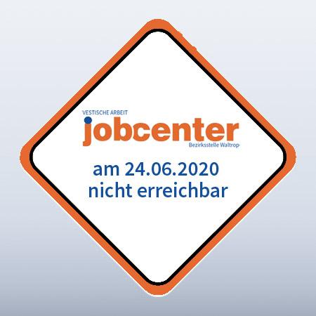 Auf dem Bild: Grafik. Text im Bild: Jobcenter nicht erreichbar. Logo: Jobcenter