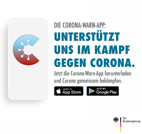 Auf dem Bild: Grafik. Text im Bild: Die Corona-Warn-App unterstützt uns im Kampf gegen Corona. Quelle: Die Bundesregierung