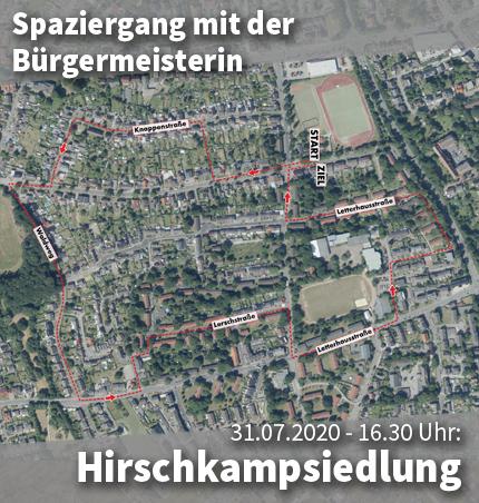 Bild: Luftbild der Hirschkampsiedlung mit Wegmarkern für den Quartiersspaziergang. Grafik: Stadt Waltrop.