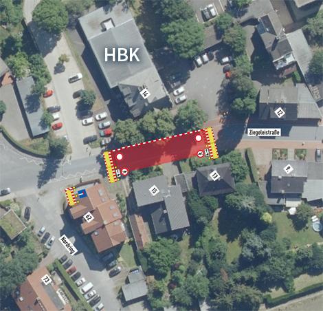 Auf dem Bild: Luftbild vom Haus für Bildung und Kultur (HBK) mit Baustellenmarkierungen.