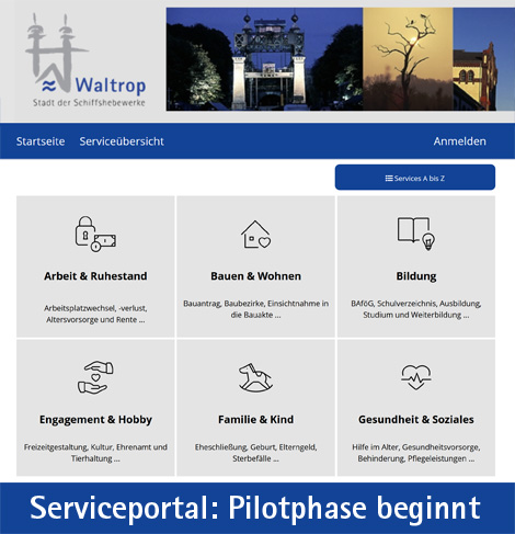 Auf dem Bild: Screenshot vom Serviceportal (Derivat). Schrift im Bild: Serviceportal, Pilotphase beginnt. Grafik: Portalverband Emscher-Lippe, Stadt Waltrop