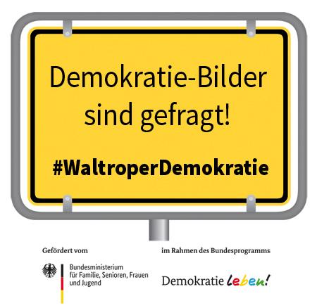 Auf dem Bild: Demokratie Leben Logo.
