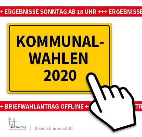 Auf dem Bild: Ortsschild. Schrift im Bild: Kommunalwahlen 2020, Infos, Briefwahlantrag offline.