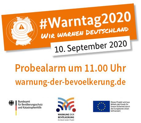 Auf dem Bild: Bild- und Textmarke des bundesweiten Warntags. Text im Bild: Probealarm um 11.00 Uhr.