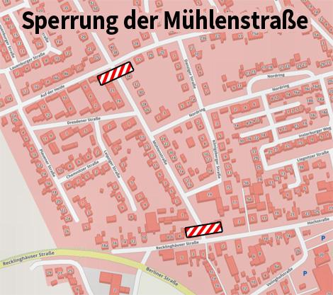 Auf dem Bild: Kartenausschnitt mit Mühlenstraße und Markierungen.