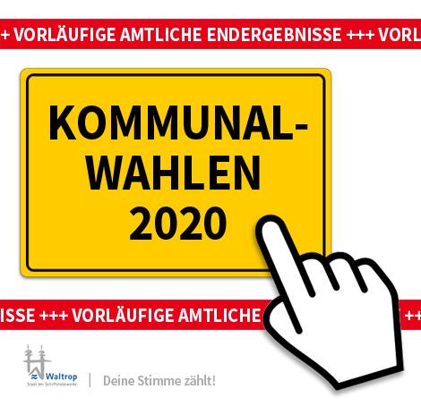 Auf dem Bild: Ortsschild. Schrift im Bild: Kommunalwahlen 2020, Vorläufige amtliche Endergebnisse.