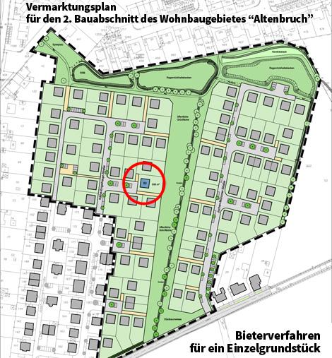 Auf dem Bild: Vermarktungplan für den 2. Bauabschnitt des Wohnbaugebietes Altenbruch. Text im Bild: Bieterverfahren für ein Einzelgrundstück. Grafik: Stadt Waltrop.