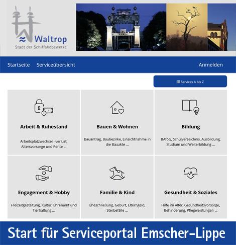Auf dem Bild: Screenshot vom Serviceportal