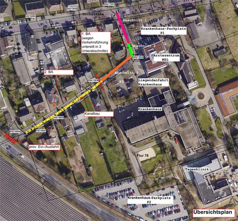 Auf dem Bild: Luftbild der Veeinghofstraße mit Baustellenmarkierungen. Foto: Stadt Waltrop.