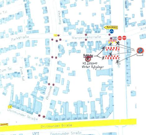 Auf dem Bild: Kartenausschnitt mit Baustellenmarkierungen.