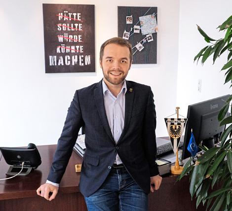 Auf dem Bild: Bürgermeister Marcel Mittelbach.