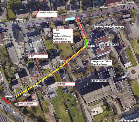 Auf dem Bild: Luftbild der Veeinghofstraße mit Baustellenmarkierungen.