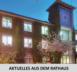 Auf dem Bild: Rathaus Altbau. Text im Bild: Aktuelles aus dem Rathaus.