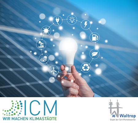 Auf dem Bild: Grafik, ICM Logo, Stadtlogo.