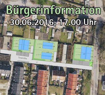 """Auf dem Bild: Rahmenplanentwurf zur 4. Änderung des Bebauungsplanes Nr. 31 """"Velsenstraße / Tinkhofstraße"""" (Stand: 09.06.2016, Ausschnitt); Text im Bild: Bürgerinformation – 30.06.2016, 17.00 Uhr"""