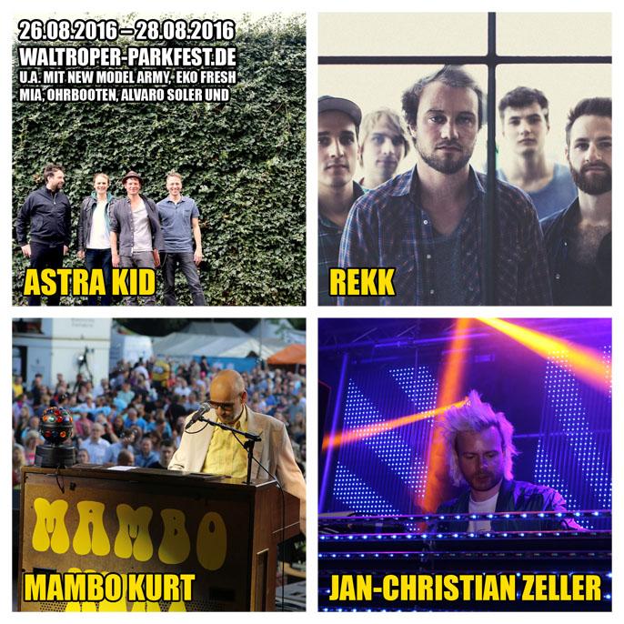 Auf dem Bild (von links oben im Uhrzeigersinn): Astra Kid (Foto: Steffen Haas), REKK (Foto: PR), Mambo Kurt (Foto: Jens Brautmeier), Jan-Christian Zeller (Foto: Jens Brautmeier)