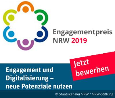 Bild: Logo mit Schriftzug. Schrift im Bild: Engagement und Digitalisierung. Grafik: Staatskanzlei NRW, NRW-Stiftung