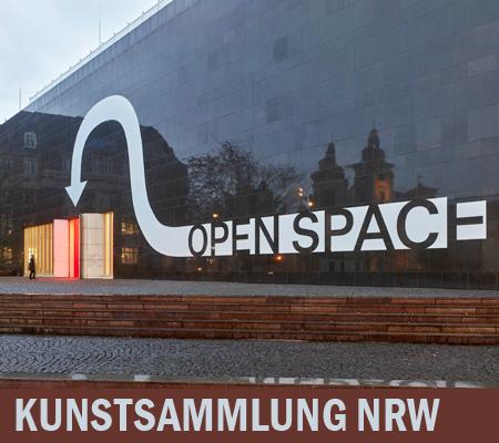 Auf dem Bild: Kunstaustellung NRW - OPEN SPACE mit Eingang vom Grabbeplatz ins K20, Foto: Achim Kukulies